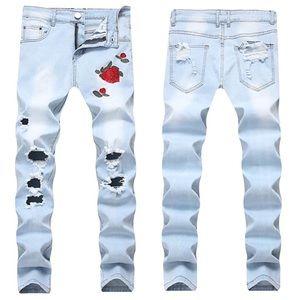 Men's Light Wash Rose Embroidered Distressed Jeans